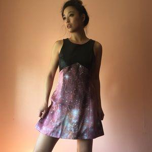 Christopher Kane Leather & Galaxy Mini Dress